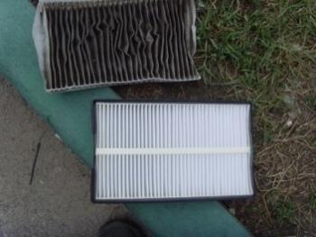Использованный и новый салонный фильтр