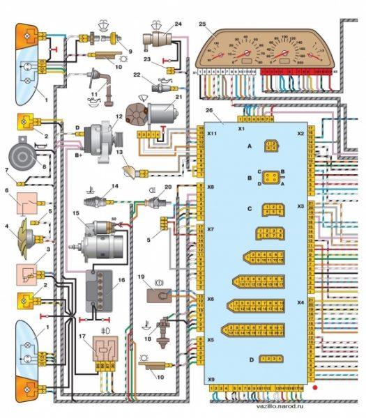 Схема электрооборудования автомобилей ВАЗ-2115