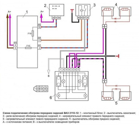Схема подключения обогрева сидения
