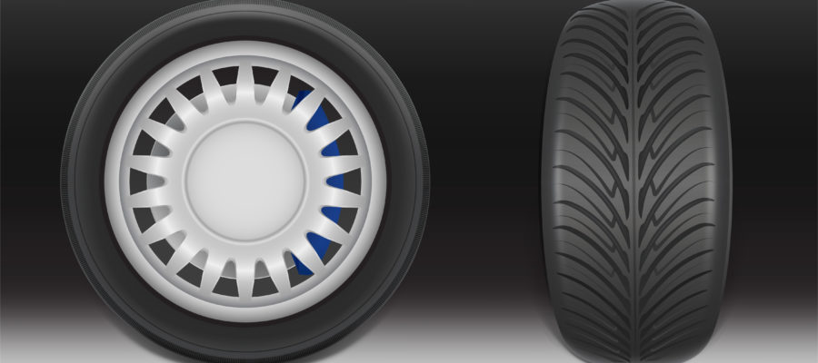 Vector 3d realistic black tire with tread
